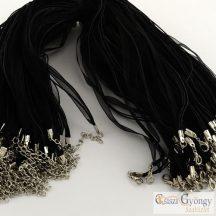 Fekete - 1 db - Kész nyaklánc alap, orgazna szalag és 3 kordszál, 43 cm hosszú