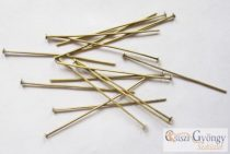 Headpins - 30 pc. - antique brass color, size: about 5cm long, 0,7mm thick (Nickel Free)