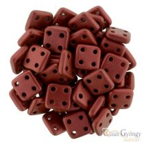 Matte Metallic Lava red - 20 pc. - Quadra Tile Beads, size: 6x6 mm (K0189)