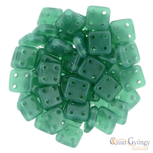 Alabaster Malachite Green - 20 db - Quadra Tile gyöngy, mérete: 6x6 mm (52060)