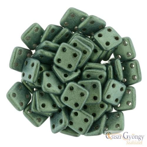 Metallic Suede Lt. Green - 20 db - Quadra Tile gyöngy, mérete: 6 mm (79051MJT)