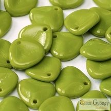Opaque Dark Lime Green - 1 db - Rózsaszirom gyöngy 8x7 mm