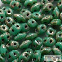 Turquoise Picasso Silver - 10 g - SuperDuo beads 2.5x5 mm (TP63130)