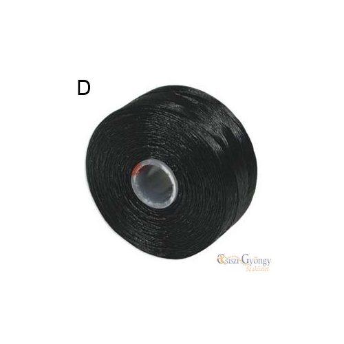 Fekete - 1 db - S-lon D gyöngyfűző cérna, hossza kb. 71,5 méter