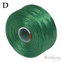Fűzöld - 1 db - S-lon D gyöngyfűző cérna, 71,5 méter
