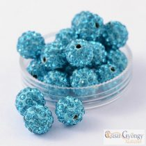 Aqua Shamballa beads, size: 10mm - 1 pc.