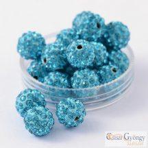 Aqua Shamballa gyöngy, méret: 10mm - 1 db