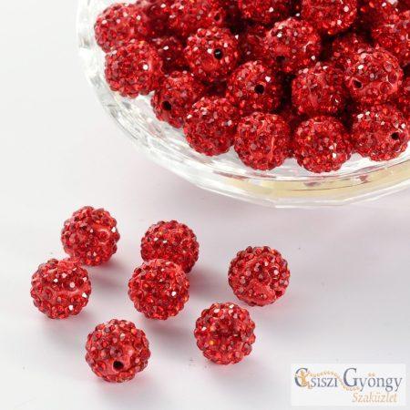 Piros strasszos köztes gyöngy- 1 db - mérete: 10 mm
