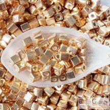 Galv. Yellow Gold - 10 g - 4 mm Miyuki Square kocka gyöngy