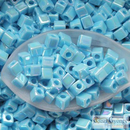 Opaque Blue Turquoise AB - 10 g - 4 mm Miyuki Square kocka gyöngy