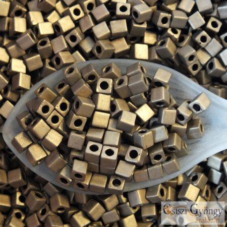 Matte Met. Bronze - 10 g - 3 mm Miyuki Square kocka gyöngy