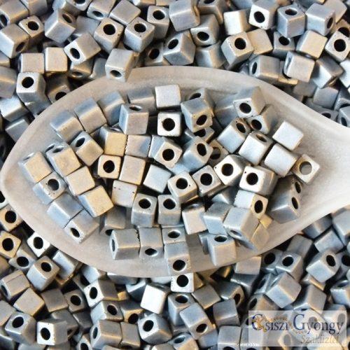 Matte Met. Silver Grey - 10 g - 3 mm Miyuki Square kocka gyöngy