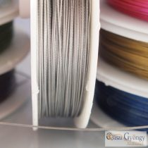 Natural Silver Color - 1 roll (ca. 50 meter) - Tiger Tail stainless wire, 0.45mm