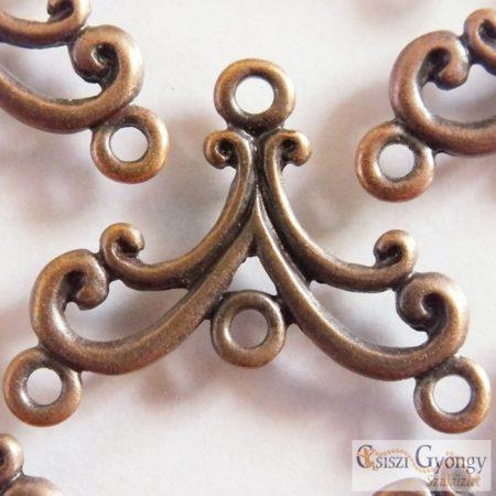 Végzáró vagy fülbevaló alap - 2 db - bronz színű, 3 soros, mérete: 27x21 mm (ólom és kadmium mentes)