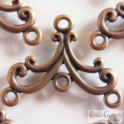 Végzáró vagy fülbevaló alap - 2 db (1 pár) - bronz színű, 3 soros, mérete: 27x21 mm (ólom és kadmium mentes)