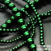 Emerald - 50 db - 4 mm cseh, üveg tekla gyöngy (70959)