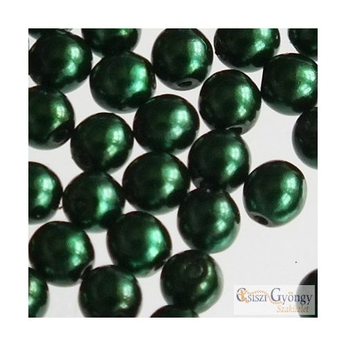 Emerald - 40 db - 4 mm cseh, üveg tekla gyöngy (70959)