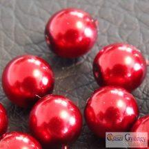 Piros - 20 db - 6 mm cseh, üveg tekla gyöngy (10185)