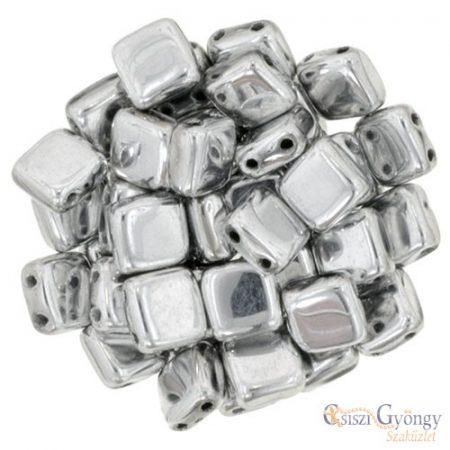 Silver - 20 db - TILE gyöngy, mérete: 6x6 mm (S00030)