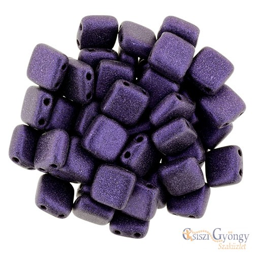 Metallic Suede Purple - 20 db - TILE gyöngy, mérete: 6x6mm (79021MJT)