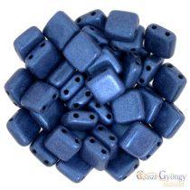 Metallic Suede Blue - 20 db - Tile gyöngy, mérete: 6x6 mm