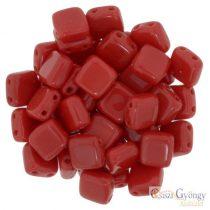 Opaque Red - 20 db - Tile gyöngy, mérete: 6x6 mm (93200)