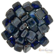 Cobalt Picasso - 20 pc. - Tile Beads, size: 6x6 mm (T30090)