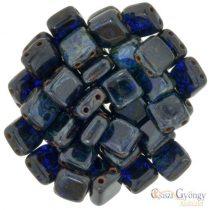 Cobalt Picasso - 20 db - Tile gyöngy, mérete: 6x6 mm (T30090)