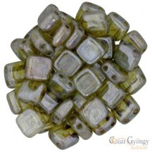 Luster Transparent Green - 20 db - Tile gyöngy, mérete: 6x6 mm (LN00030)
