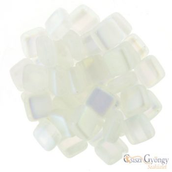 Matte Crystal AB - 20 db - Tile gyöngy 6x6mm (MX00030)