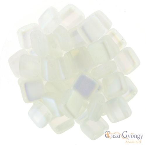 Matte Crystal AB - 20 db - Tile gyöngy 6x6mm (MX00030)