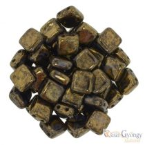 Jet Bronze Picasso - 20 pcs. - Tile Beads 6x6mm (LG23980)