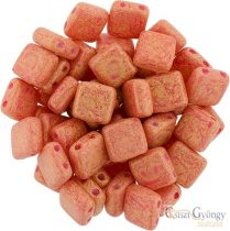 Pacifica Strawberry - 20 Stück. - Tile Beads 6x6mm (S1002WH)
