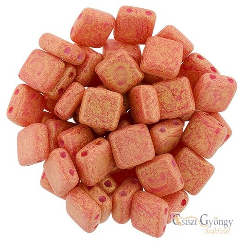 Pacifica Strawberry - 20 db - Tile gyöngy 6x6mm (S1002WH)