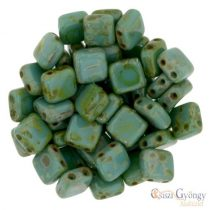 Persian Picasso Turquoise - 20 pcs. - Tile Beads 6x6mm (T63150)