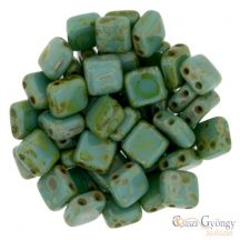 Persian Picasso Turquoise - 20 db - Tile gyöngy 6x6mm (T63150)