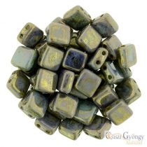 Opaque Pale Jade Bronze Picasso - 20 pcs. - Tile Beads (LG63100)