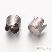 Végzáró elem - 10 db - ezüst színű, hossza:7mm, átmérő: 6.5mm