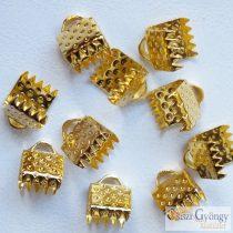 Szalagvég - 1 db - arany színű, méret: 6x6 mm