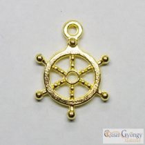 Pedants - 1 pcs. - golden color, 20 mm long, 14 mm wide, hole: 2 mm