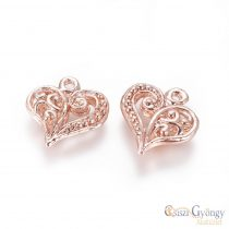 Pedant - 1 pcs. - rose gold color, size: 14 mm