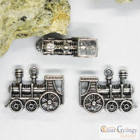 Függő - 1 db - antik ezüst színű mozdony, mérete: 27 mm