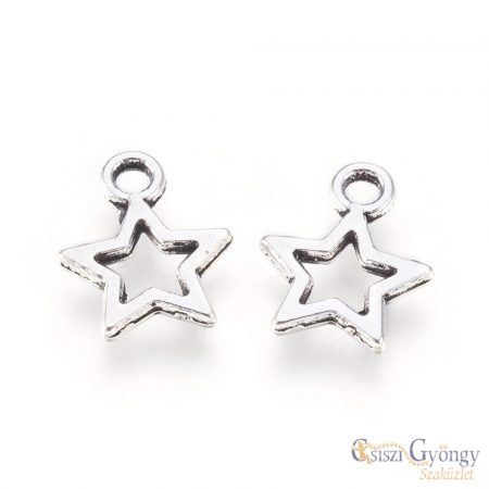 Pedant Star - 1 pcs. - silver color, size: 12 mm