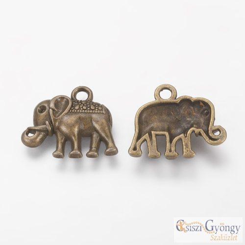 Függő Elefánt - 1 db - réz színű, mérete: 17 mm