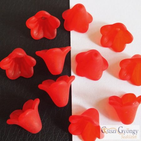 Piros akril virág - 1 db - mérete: 14 mm