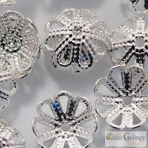 Ezüst színű gyöngykupak - 1 db - mérete: 8 mm
