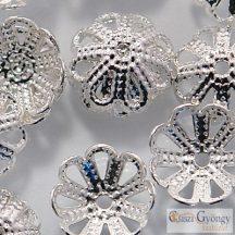 Ezüst színű gyöngykupak - 20 db - mérete: 8 mm